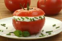 Tomato with lowfat cottage cheese and dill Stock Photo