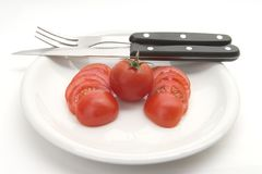 Tomato lunch. Tomatoes on a plate Stock Photography