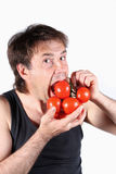 Tomato and man Royalty Free Stock Image