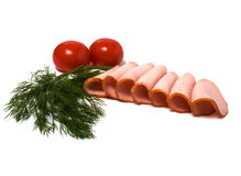 Tomato and  meat  slices isolated on white. Backgroud Stock Photo
