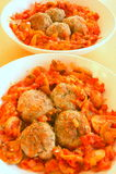 Tomato meatballs stock images