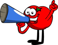 Tomato with megaphone Royalty Free Stock Photos