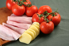 Tomato, mozarella and ham Royalty Free Stock Photography
