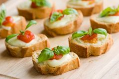 Tomato mozzarella and baguette Royalty Free Stock Photography