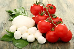 Tomato, mozzarella and basil. Royalty Free Stock Photo