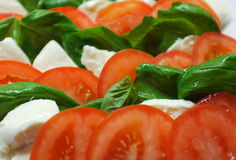 Tomato with mozzarella and basil Royalty Free Stock Photo
