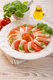 Tomato with mozzarella cheese Royalty Free Stock Photos