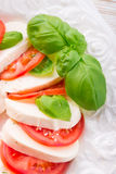 Tomato with mozzarella cheese Stock Images
