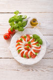Tomato with mozzarella cheese Royalty Free Stock Photo