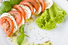 Tomato and mozzarella cheese with green basil and salad Stock Image