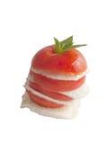 Tomato with mozzarella cheese. Menu Stock Photo