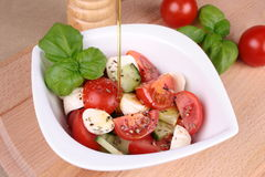 Tomato mozzarella salad with olive oil Royalty Free Stock Photo