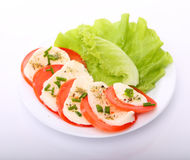 Tomato with mozzarella and salad Royalty Free Stock Photos