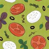 Tomato and mozzarella seamless pattern. For your design Royalty Free Stock Photo