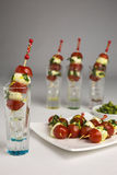 Tomato mozzarella skewer stock image