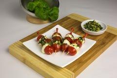 Tomato mozzarella skewer Royalty Free Stock Photos