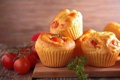 Tomato muffin. Close up on tomato muffin stock image