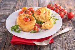 Tomato muffin. Close up on tomato muffin royalty free stock photo