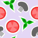 Tomato and Mushroom. Tomato, mushroom and herbal background royalty free illustration