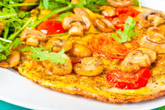 Tomato and mushroom omelette. Royalty Free Stock Photos