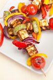 Tomato, mushroom and prawn kebabs Royalty Free Stock Images