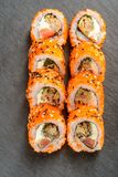 Tomato and mussels sushi rolls Stock Photo