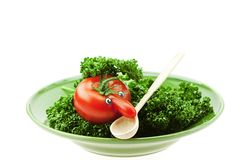 Tomato with the nose on a green plate Stock Photography