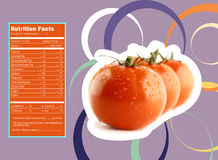Tomato nutrition facts. Creative Design for tomato with Nutrition facts label Stock Images