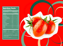 Tomato nutrition facts. Creative Design for tomato with Nutrition facts label royalty free illustration
