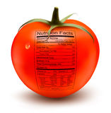 Tomato with a nutrition facts label. Stock Photo