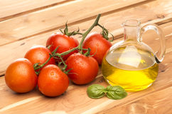 Tomato and olive oil Stock Images