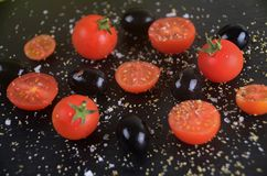 Tomato and Olives. Tomato with olives fresh and healthy Royalty Free Stock Image