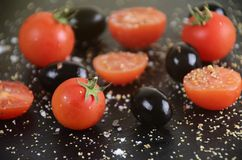 Tomato and Olives. Tomato with olives fresh and healthy Royalty Free Stock Photo