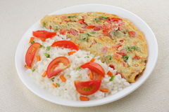 Tomato omelet with rice. Tomato omelet with cooked white rice and vegetables Royalty Free Stock Photo