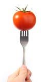 Tomato On Fork Royalty Free Stock Photos