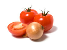 Tomato and onion. Isolated on white background Royalty Free Stock Images