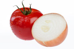 Tomato And Onion. Isolated vegetable on white background royalty free stock photo