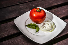 Tomato, onion and basil on a plate. View of tomato, onion and basil on a white plate on the wooden table Stock Photos