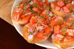 Tomato and onion bruschetta wi Royalty Free Stock Photo