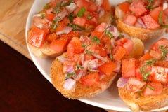 Tomato and onion bruschetta wi Royalty Free Stock Photo