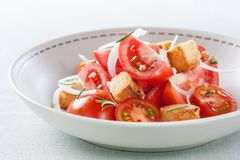 Tomato, onion and fresh herbs Royalty Free Stock Image