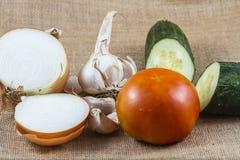 Tomato, onion, garlic and cucumber. Onion, garlic, tomato and cucumber on raffia fabric Stock Images