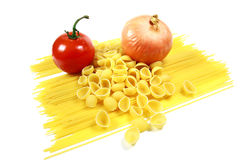 Tomato and Onion with Pasta Stock Photography
