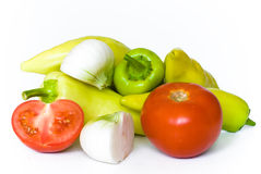 Tomato, onion and pepper. Fresh food for hearty life Stock Photo