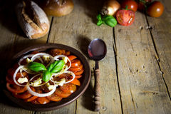 Tomato and onion salad with rustic bread on a old wooden table Stock Photo