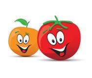 Tomato and orange faces Stock Photos