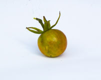 Tomato. Orange and green tomato on background Stock Images