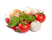 Tomato with other herbs on a white background Stock Image