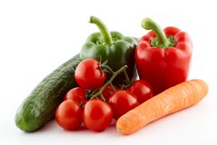 Tomato, paprika, carrot, cucumber Royalty Free Stock Photos