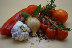 Ingredients to make Italian pasta sauce royalty free stock images